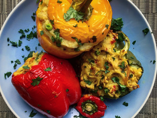Stuffed Peppers with a Masala Pea Mash
