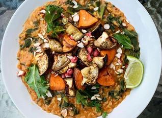 Aubergine, Sweet Potato & Kale Curry
