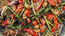 Roasted Veg Quinoa w/ Miso-Tahini