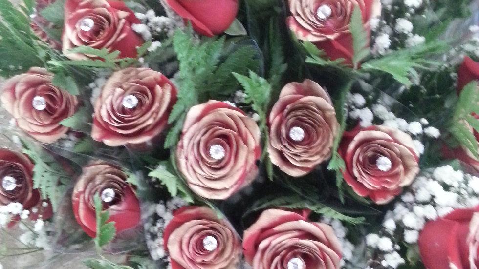 Single 24K Gold Sprayed Roses