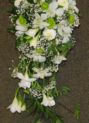 White Orchid daisies and fuscia Bridal Bouquet