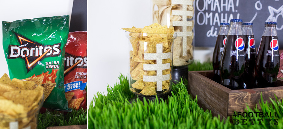 Football Bettys_Women who love football_football party ideas_simple DIY party ideas_tackle the table_Doritos_Pepsi