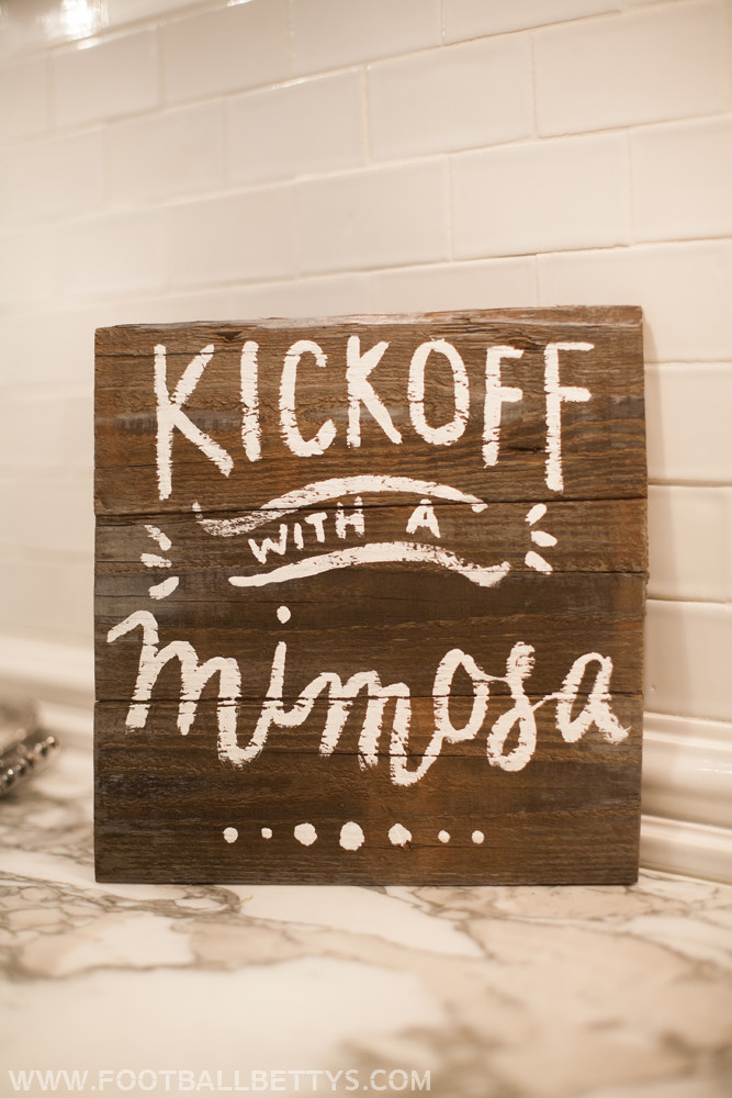 Football Bettys_Football Entertaining_A Game Day Mimosa Bar_football party ideas_handlettered wooden sign