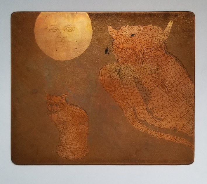 Owl, Cat and Moon