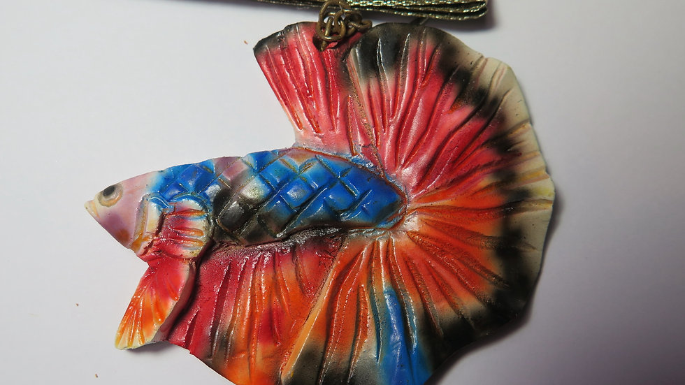 Hand Carved Fancy Blue Halfmoon Betta Key Chain (#04)