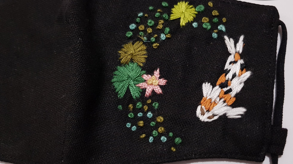 Embroidered Face Make - Koi Fish& Lily - Black