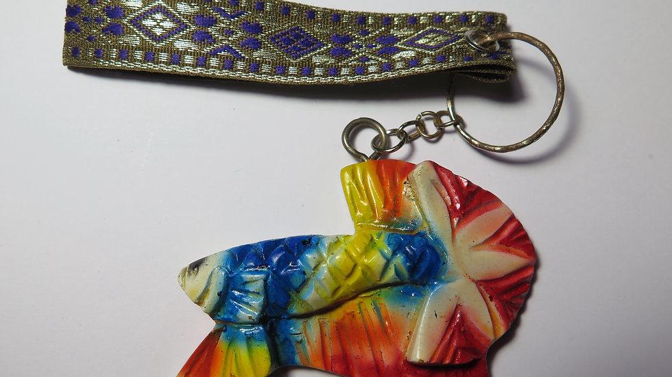 Hand Carved Candy Startail HMPK Betta Key Chain (#03)