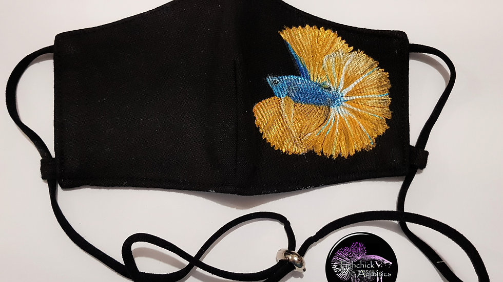 Hand Painted Cloth Mask - Blue Yellow OHM