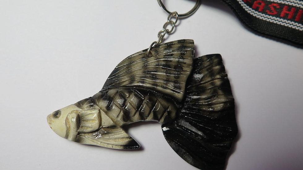 Hand Carved Black Cobra Guppy Key Chain (#03)