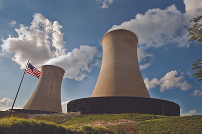 Nuclear Twin Cooling Towers with Flag.jp