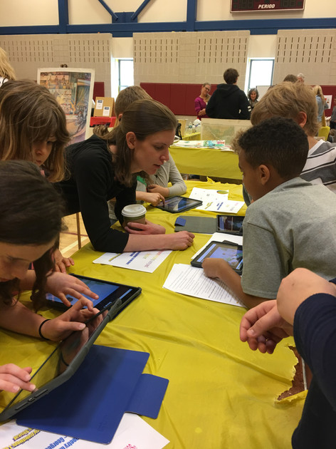 students work on art stem projects