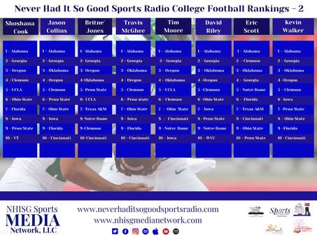NHISG CFB Top 10 Rankings Week 2