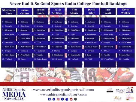 Never Had It So Good Sports Radio College Football Rankings Week 1