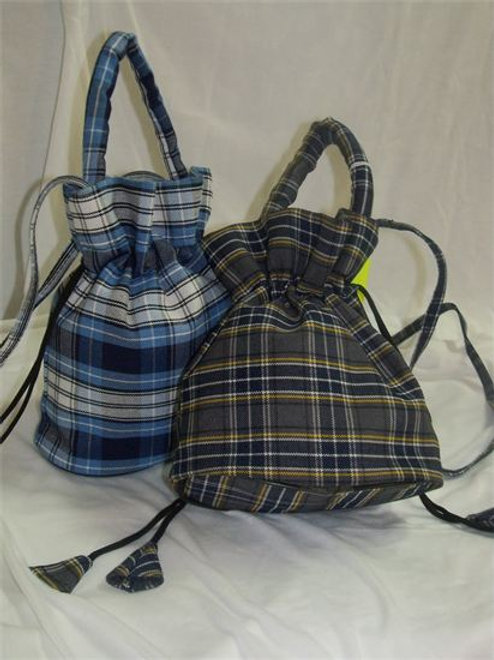 Plaid Drawstring Purse