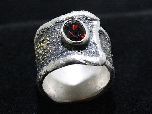 Granat Silber Gold Ring