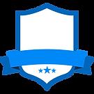 Badge blanc bleu