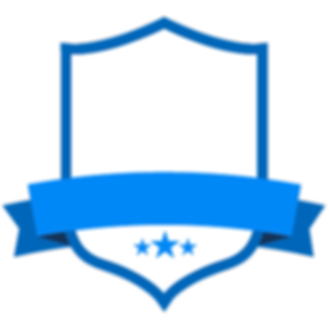 Badge blanc bleu