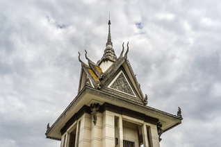 Cloudy skies over Choeung Ek Monument