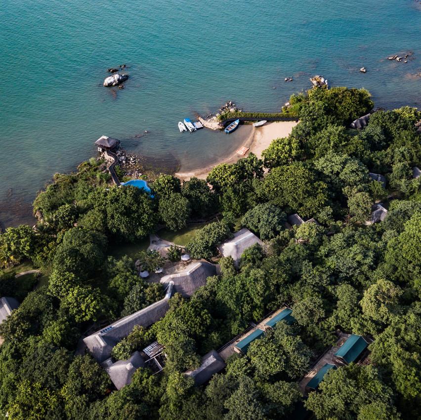 Aerial View Blue Zebra Island Lodge