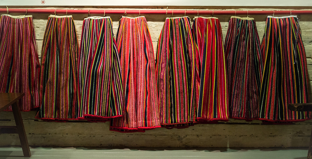 Kihnu skirts lined up at the museum