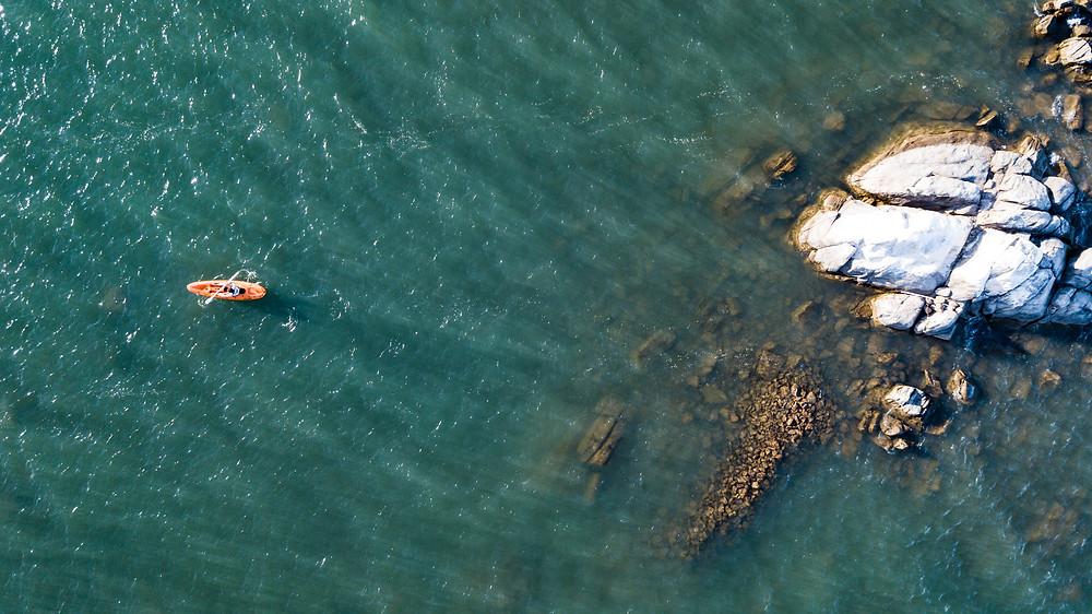 Kayaking Aerial Shot Lake Malawi