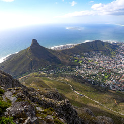 Lions Head Peak, Robben Island and Cape Town from Table Mountain