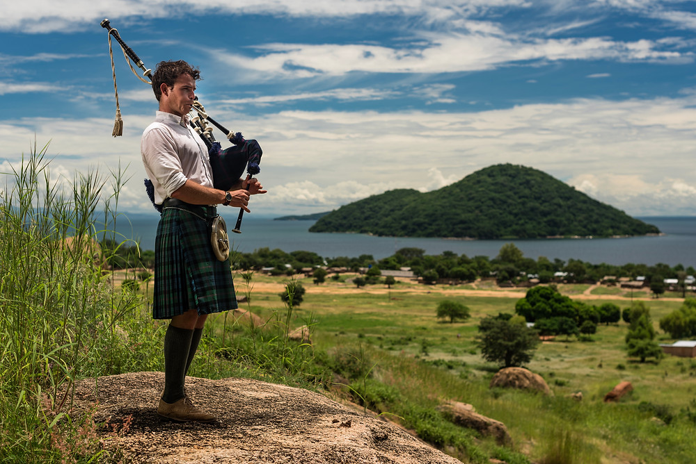 Bagpipes at Cape Maclear Malawi