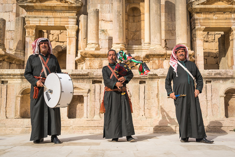 Bagpipes in Jerash Jordan