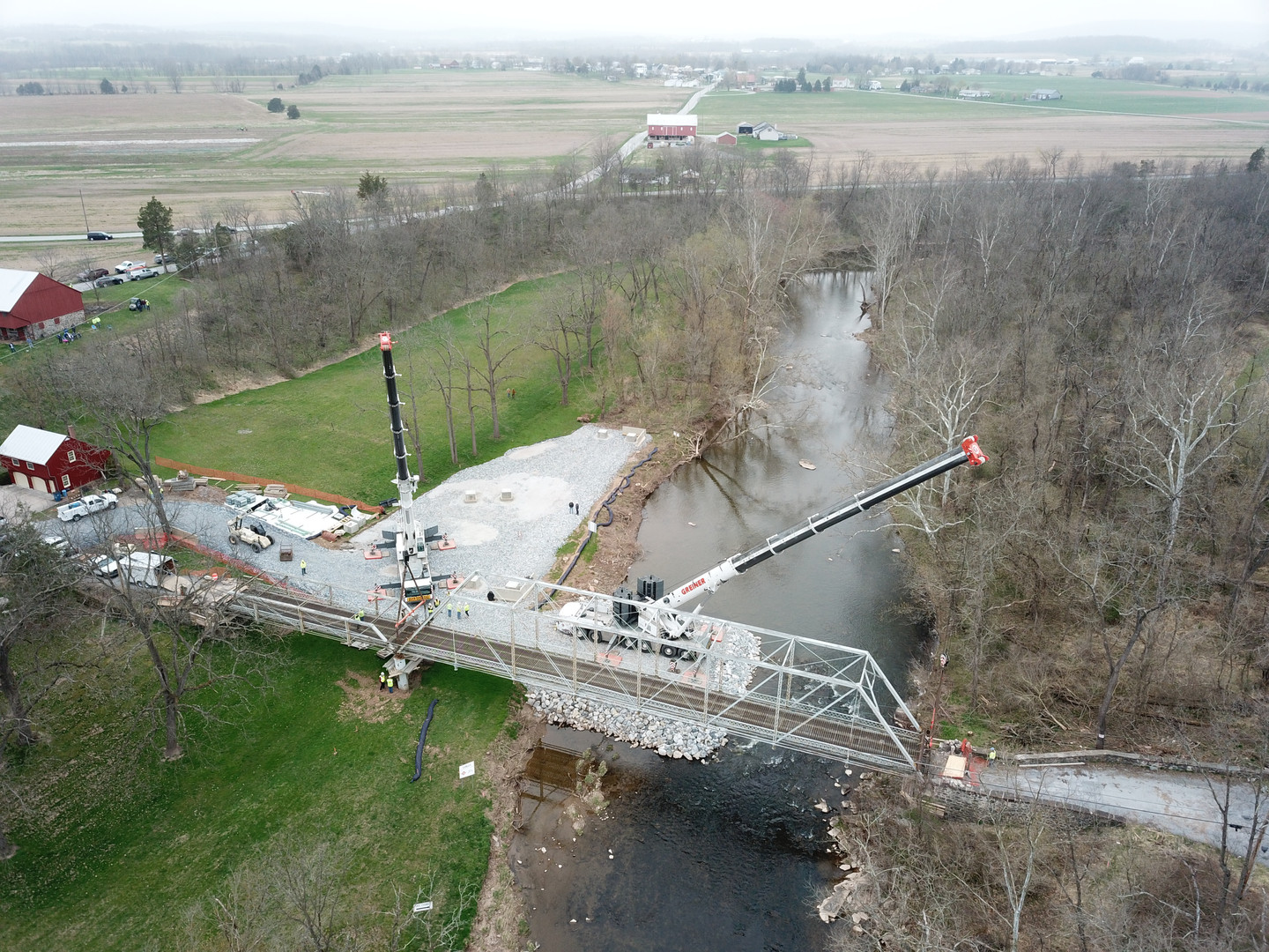 Aerial view of the bridge after it was completely reset
