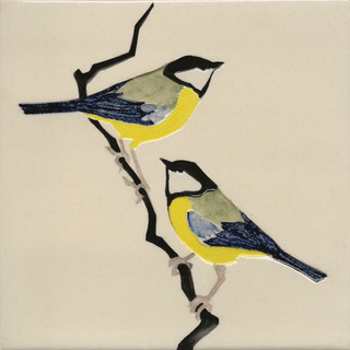 Pentimento Ceramics and print_british birds_garden birds_handmade_ceramic tile_original art_bespoke_great tits