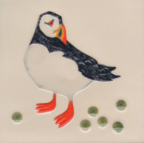 Pentimento Pentimento Ceramics and Print_Puffin_Handmade_bespoke_ceramic tile_hand decorated_birds_british garden birds_original art