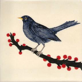 Pentimento Ceramics and print_british birds_garden birds_handmade_ceramic tile_original art_bespoke_Blackbird