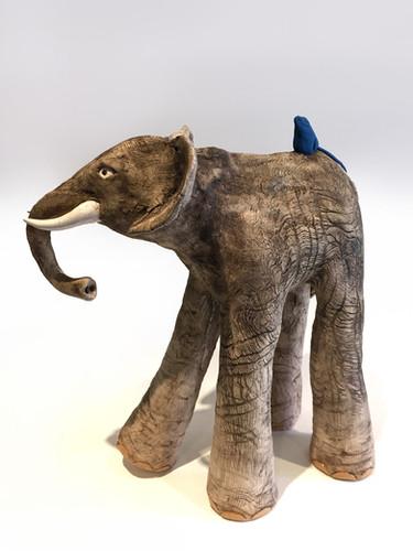 eramic Elephant_mammal_clay animal_hand built_pottery_animal sculpture_pentimento ceramics and print_original art_hand made_mouse_pet mouse