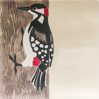 Pentimento Ceramics and print_british birds_garden birds_handmade_ceramic tile_original art_bespoke_woodpecker