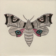 Pentimento Ceramics and Print_Eyed Hawkmoth_insect_Handmade_bespoke_ceramic tile_hand decorated_original art