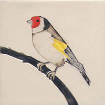 Pentimento Ceramics and Print_Goldfinch_Handmade_bespoke_ceramic tile_hand decorated_birds_british garden birds_original art