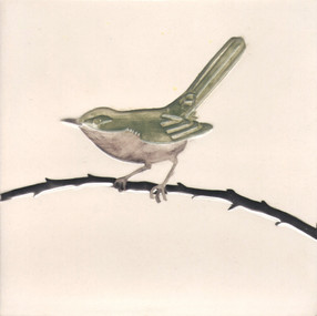 Pentimento Ceramics and print_warbler_british birds_garden birds_handmade_ceramic tile_original art_bespoke_twig