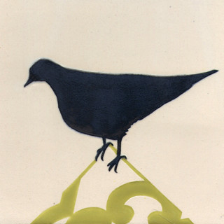 Pentimento Ceramics and print_pigeon_silhouette_british birds_garden birds_handmade_ceramic tile_original art_bespoke