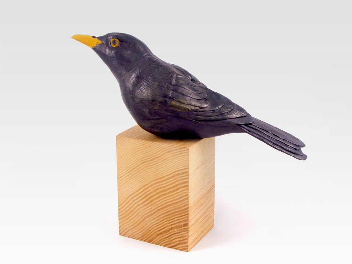 blackbird_bird_garden bird_British bird_olive ash_ceramic bird_birds in clay_hand built_original art_bird sculpture_hand made_Pentimento Ceramics and Print