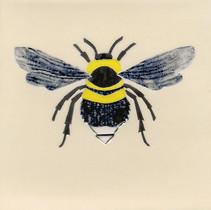 Pentimento Ceramics and Print_bee_bumble bee_bombus_insect_Handmade_bespoke_ceramic tile_hand decorated_original art_Garden bee