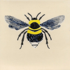 Pentimento Ceramics and Print_bee_bumble bee_bombus_insect_Handmade_bespoke_ceramic tile_hand decorated_original art_Garden bee