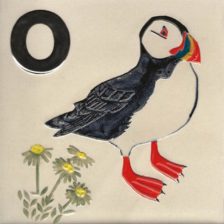 Pentimento Ceramics and Print_puffin_british birds_sea birds_handmade_ceramic tile_original art_bespoke