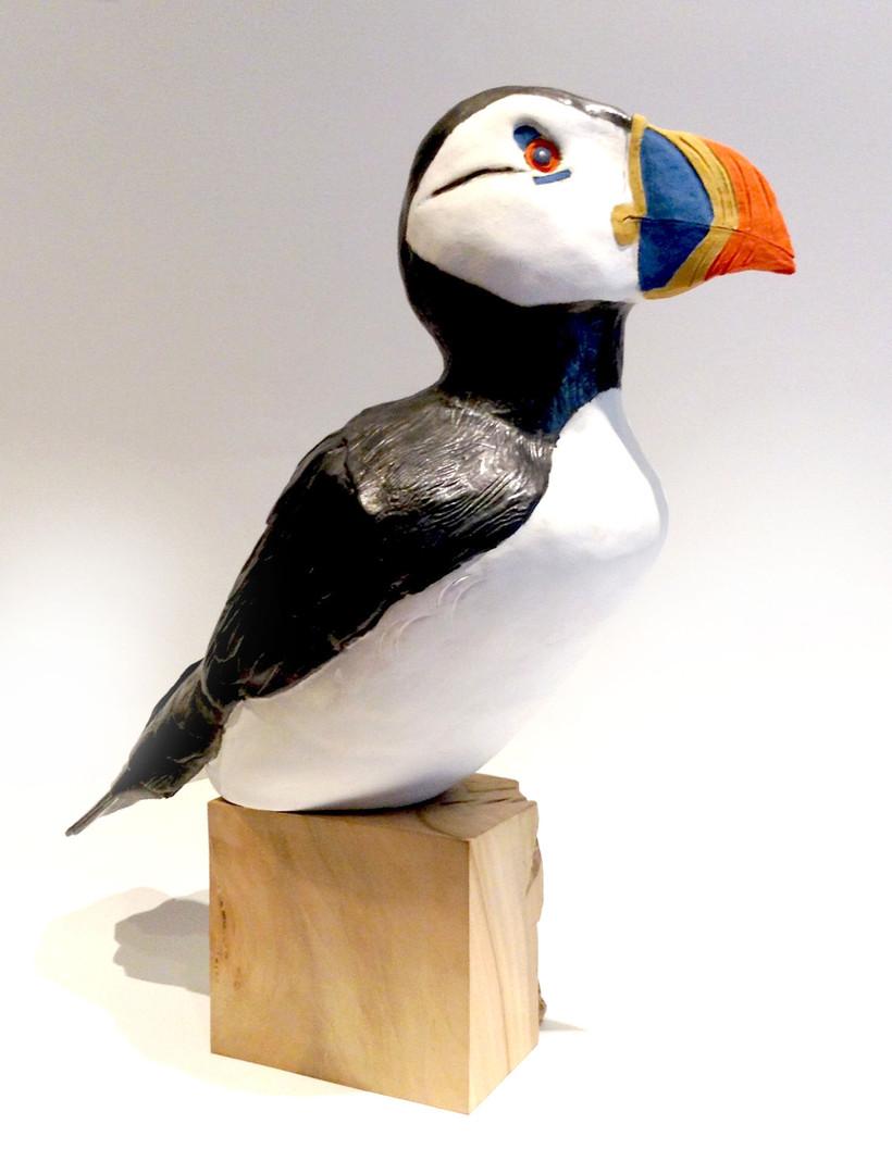 Puffin_seabird_lime_bird_ceramic bird_birds in clay_hand built_original art_bird sculpture_hand made_Pentimento Ceramics and Print