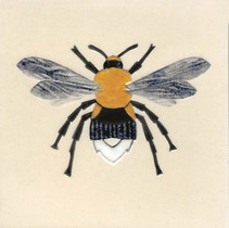 Pentimento Ceramics and Print_bee_bumble bee_bombus_insect_Handmade_bespoke_ceramic tile_hand decorated_original art_Tree Bumble bee
