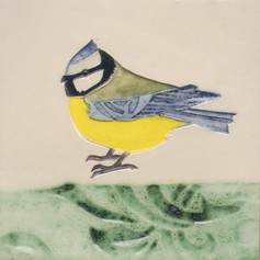 Pentimento Ceramics and Print_Blue tit_Handmade_bespoke_ceramic tile_hand decorated_birds_british garden birds_original art