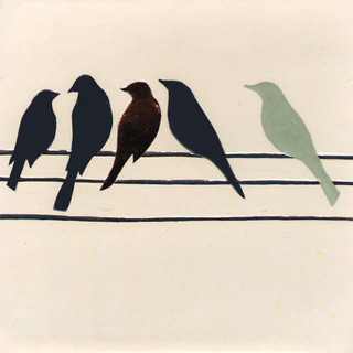 Pentimento Ceramics and print_birds on a wire_british birds_garden birds_handmade_ceramic tile_original art_bespoke