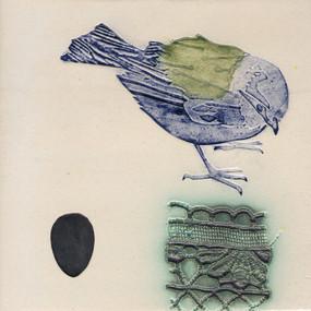 Pentimento Ceramics and print_blue tit_british birds_garden birds_handmade_ceramic tile_original art_bespoke_lace_egg