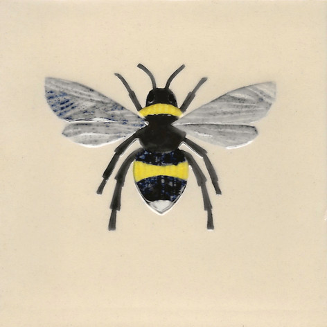Pentimento Ceramics and Print_bee_bumble bee_bombus_insect_Handmade_bespoke_ceramic tile_hand decorated_original art_Buff tailed bee
