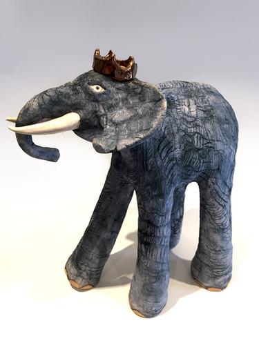 eramic Elephant_mammal_clay animal_hand built_pottery_animal sculpture_pentimento ceramics and print_original art_hand made_king_crown