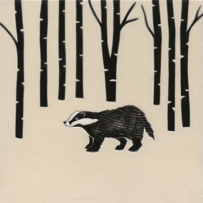 Pentimento Ceramics and print_british mammals_handmade_ceramic tile_original art_bespoke_badger_woods